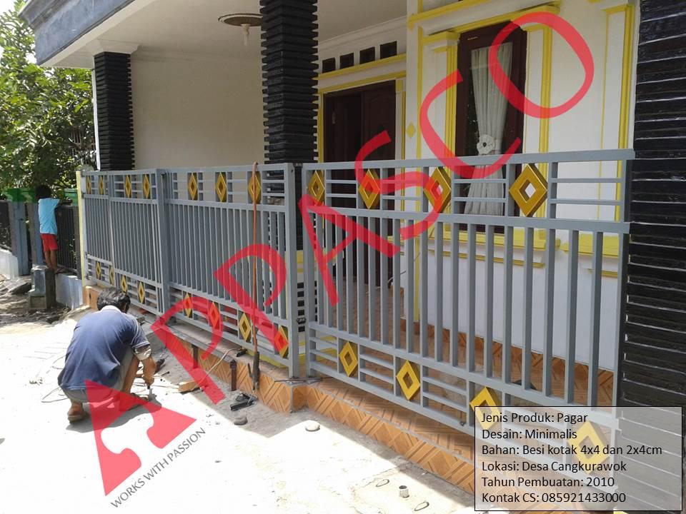 Pagar Minimalis Besi Kotak di Cangkurawok