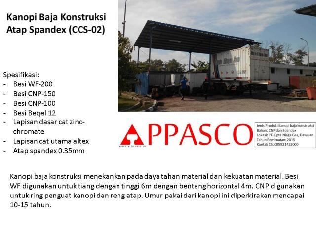 kanopi baja konstruksi atap spandex pada industri