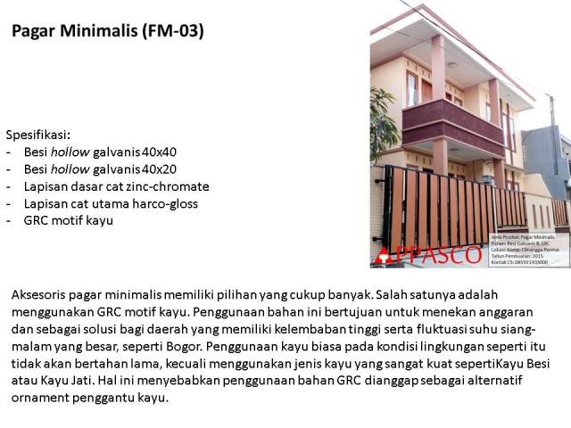 pagar minimalis GRC motif kayu