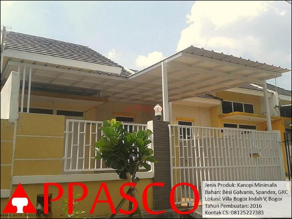 Kanopi Minimalis Spandek di Villa Bogor Indah V
