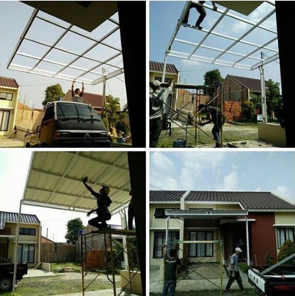 cara masang kanopi minimalis atap spandex