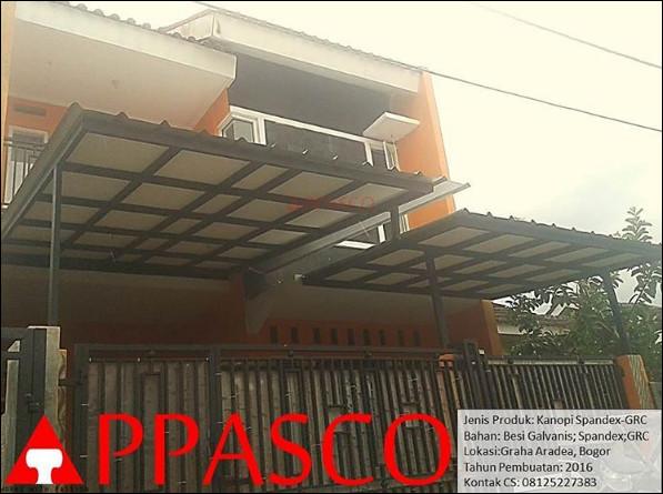 Kanopi Minimalis Atap Spandek GRC di Graha Aradea Bogor