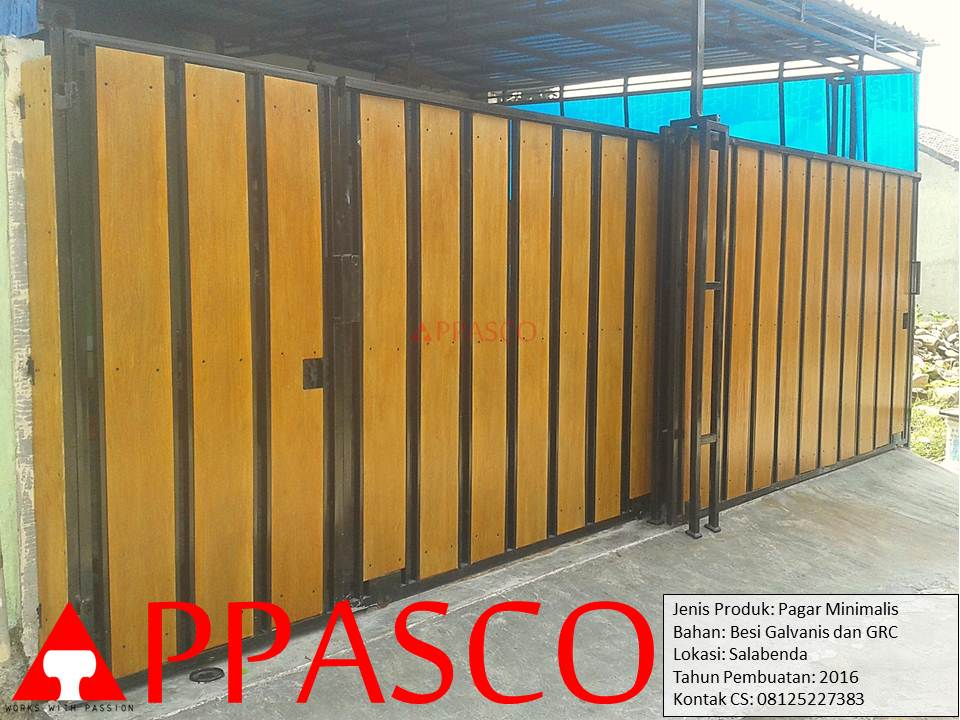 pagar minimalis grc motif kayu salabenda