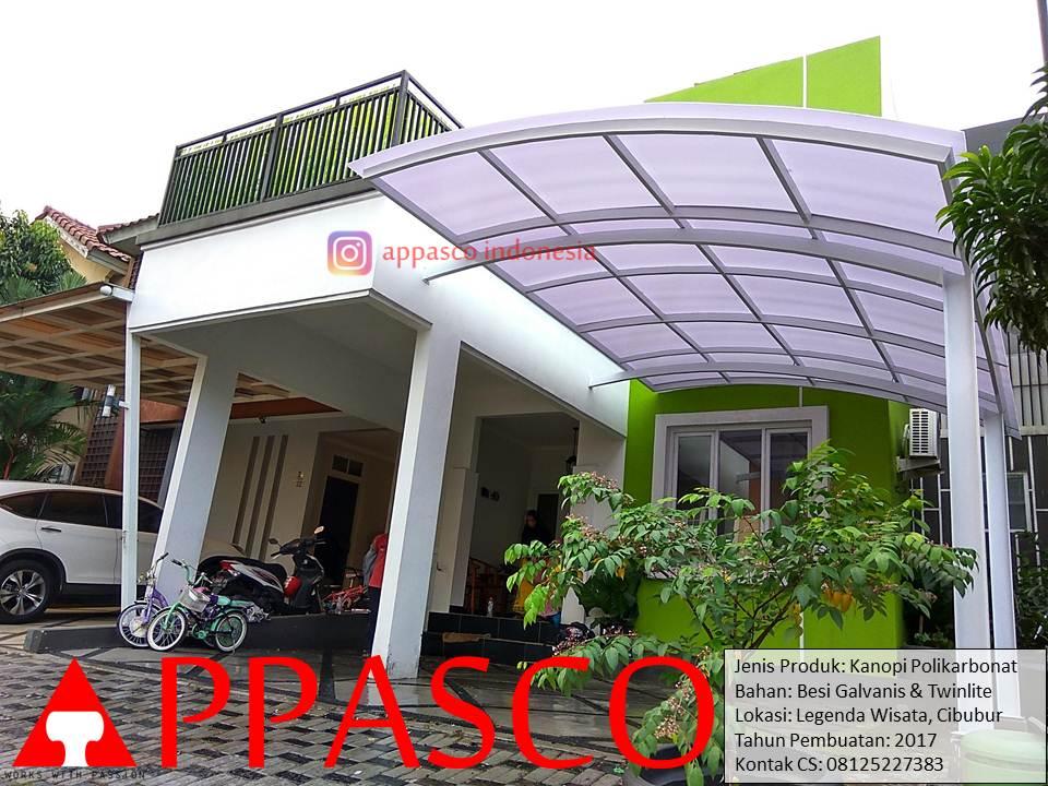 Kanopi Polikarbonat Atap Lengkung di Cibubur