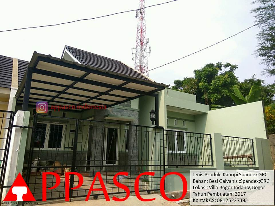 Kanopi Minimalis Spandek GRC Peredam di Villa Bogor Indah