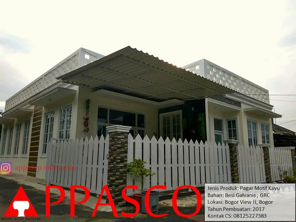 Pagar Klasik Motif Kayu GRC Putih di Bogor View