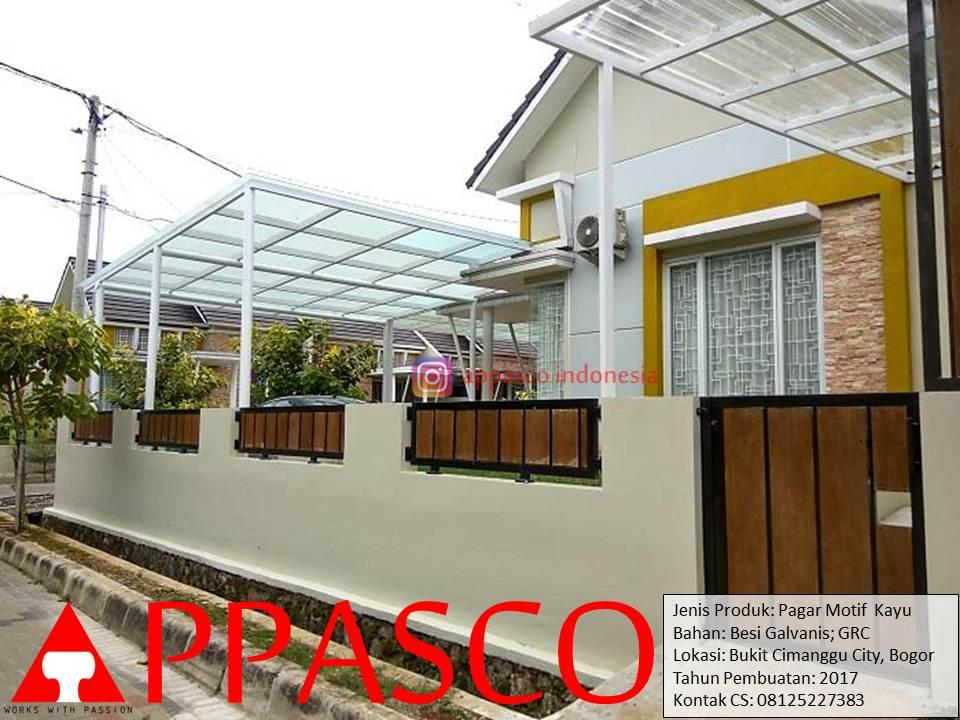 Pagar Minimalis Motif Kayu GRC di Cimanggu City Bogor