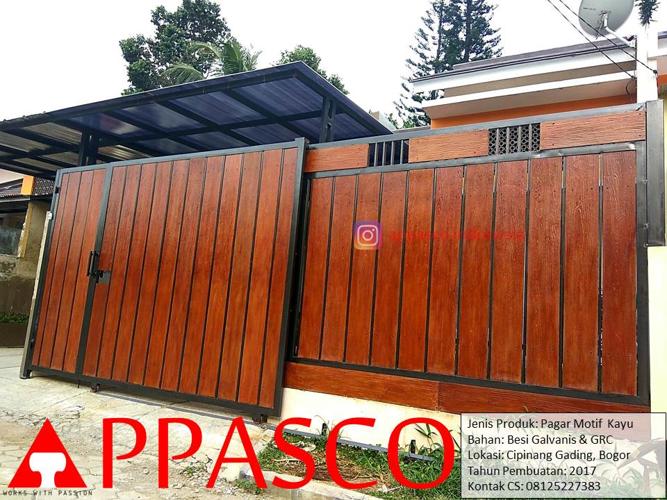 Pagar Minimalis Galvalum dengan Motif Kayu GRC lisplang di Cipinang Bogor