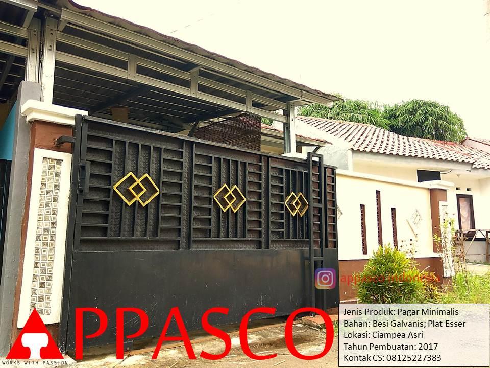 Pagar Rumah Dorong Model Minimalis Besi Galvanis Plat Esser Di