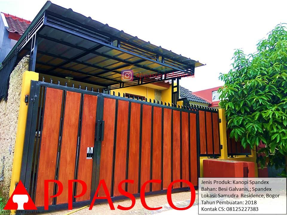 Kanopi Atap Spandek Metal Besi Galvanis Hitam di Samudra Residence Bogor