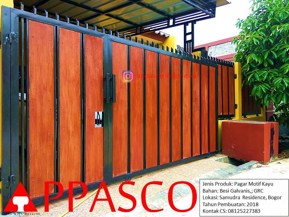 Pagar Minimalis Modern Klasik Kayu GRC di Samudra Residence Bogor
