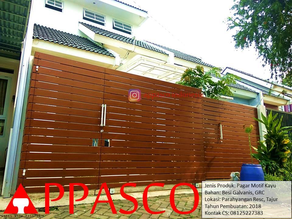 Pagar Minimalis Modern Klasik Motif Horizontal Kayu di Parahyangan Tajur Bogor