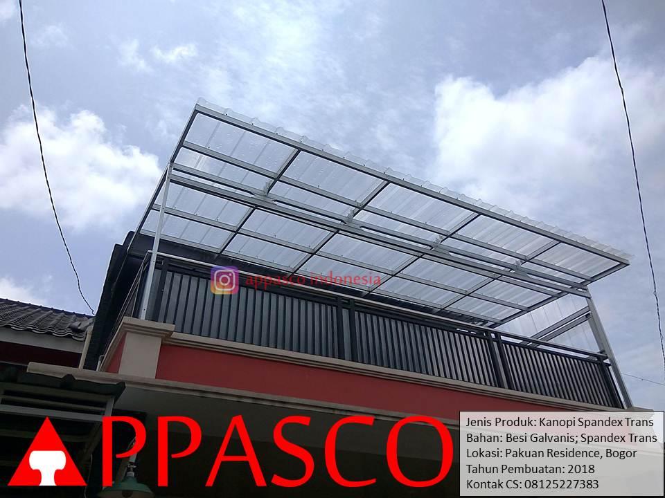 Kanopi Minimalis Atap Spandek yang Transparan di Pakuan Residence