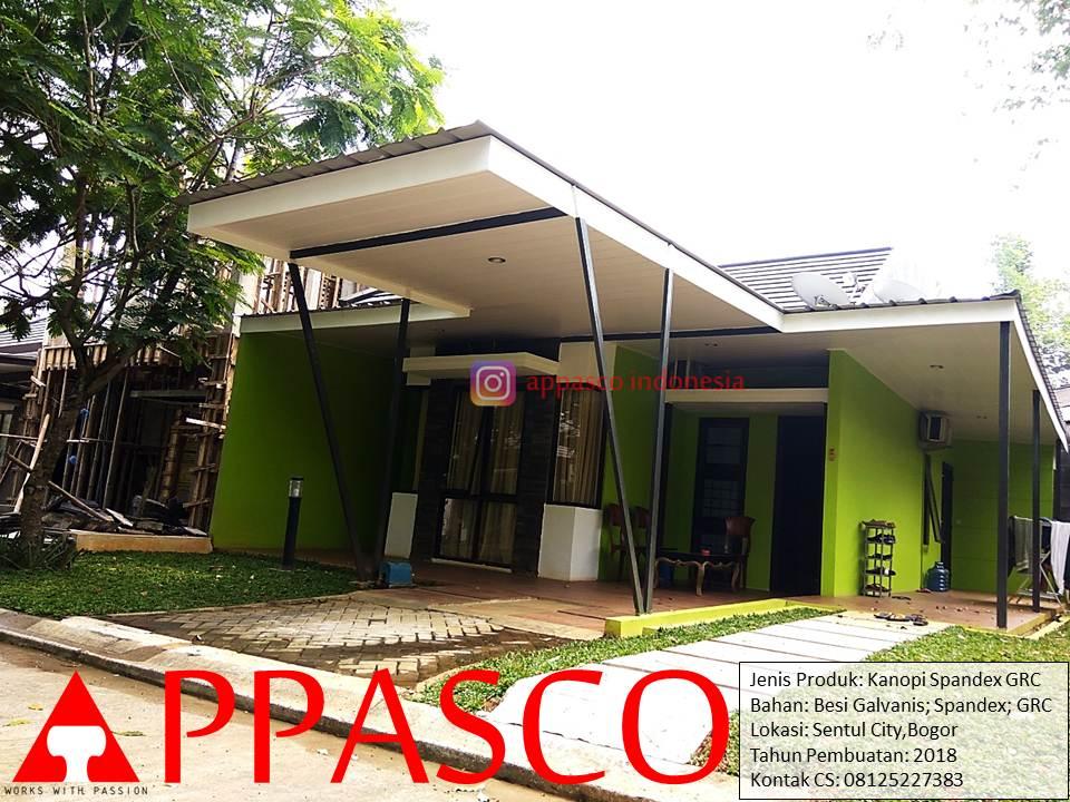 Kanopi Minimalis Sederhana Modern Keren dengan Plafon GRC di Sentul City