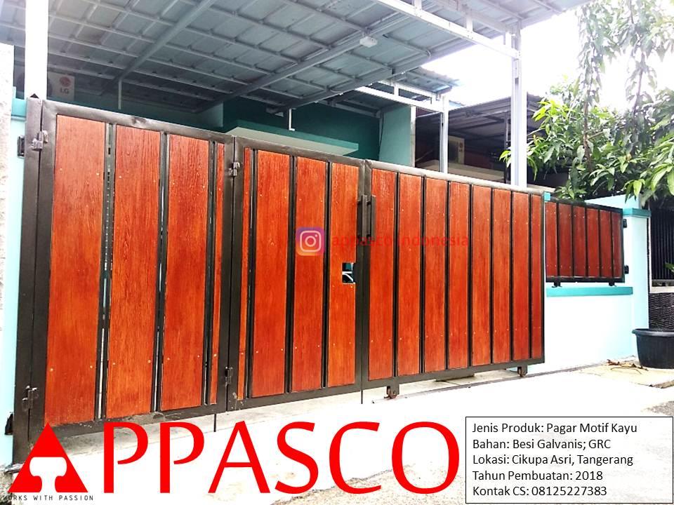 Pagar Minimalis Modern Kayu GRC di Cikupa Asri Tangerang