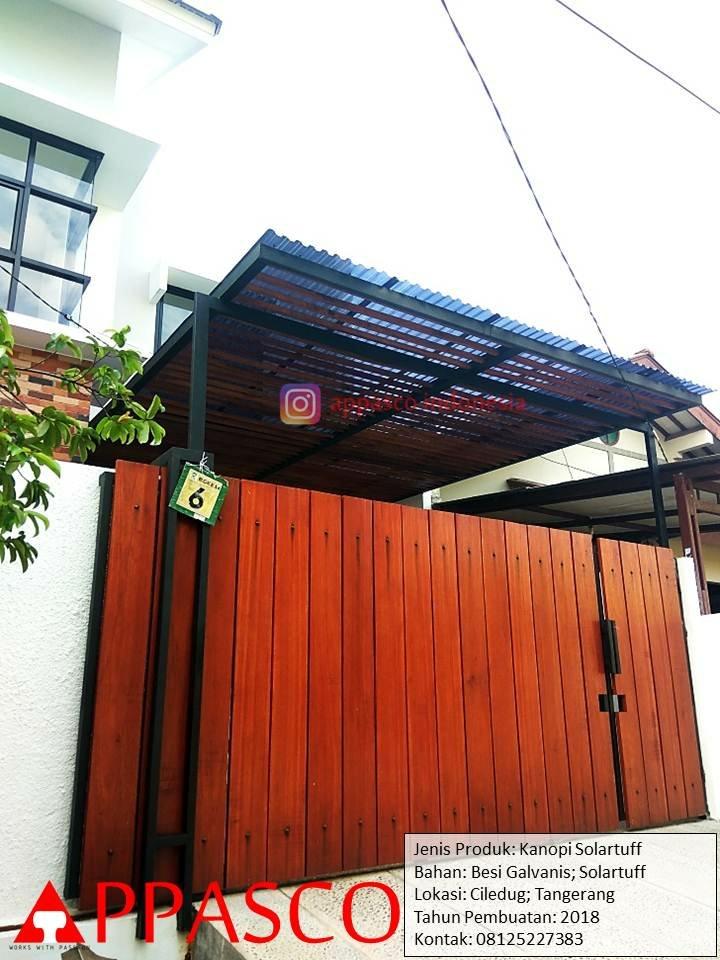 Kanopi Bening Transparan Solartuff Besi Galvanis di Ciledug