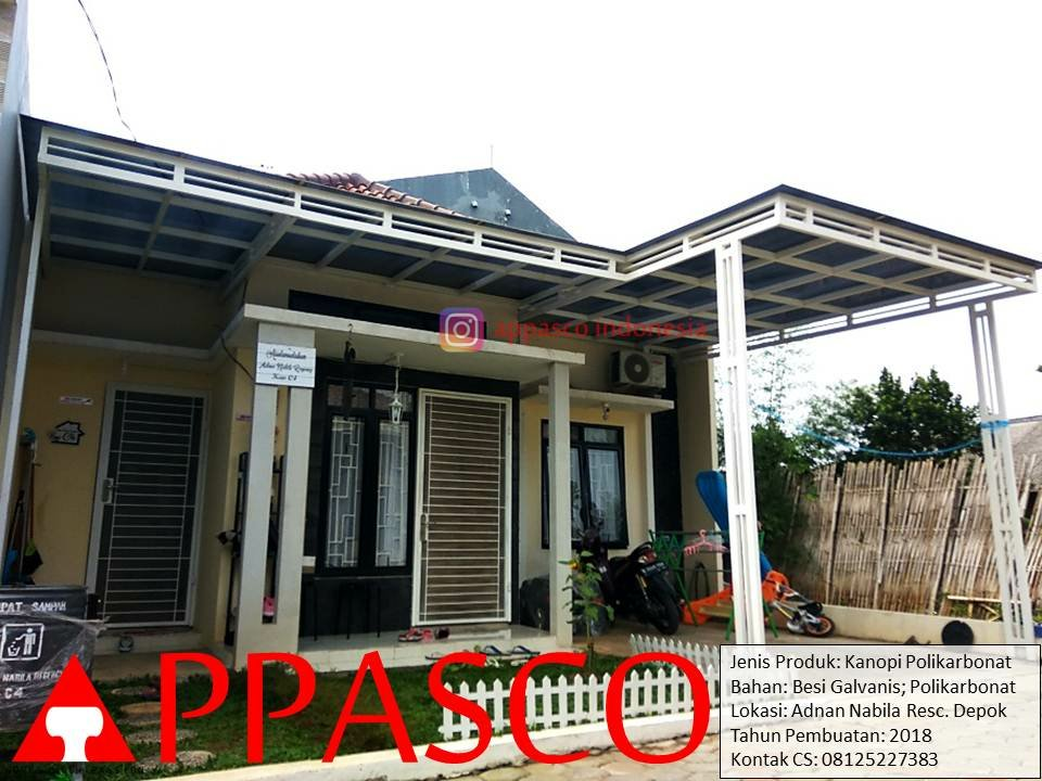 Kanopi Minimalis Modern Atap Polikarbonat di Adnan Nabila Residence Depok