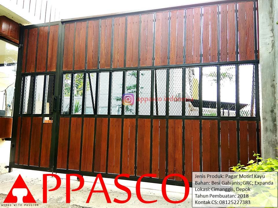 Pagar pintu gerbang perumahan dari GRC kayu expanda